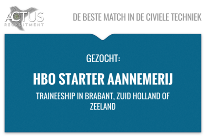 Functienaam: Trainee HBO starter Standplaats: Zuid Holland, Brabant of Zeeland trefwoorden: Starter, Trainee, Wegenbouw, civiel, betonbouw,