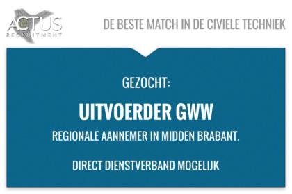 Functienaam: Uitvoerder GWW Standplaats: Tilburg trefwoord: uitvoerder, wegen, civiel, UAV-GC, RWS, Toezichthouder, Voorman, GWW, riolering, Aannemer