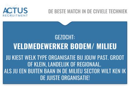 milieu, bodem, milieukunde, MBO, grondwerker, voorman, Brabant, zeeland, Zuid holland, buiten werk, veldwerk, auto van de zaak