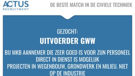 Voor een grote MKB aannemer midden in Zuid Holland: Uitvoerder, voorman, MBO, HBO, civieletechniek, wegenbouw, riolering, Grondwerk, saneringen, UAV-GC, Auto van de zaak