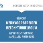 Functienaam: werkvoorbereider, projectbegeleider, Standplaats: Rotterdam, Maassluis Trefwoorden: civiele techniek, GWW, Rotterdam, BAAK BBV, Blankenburg tunnel, ZZP, infra projecten